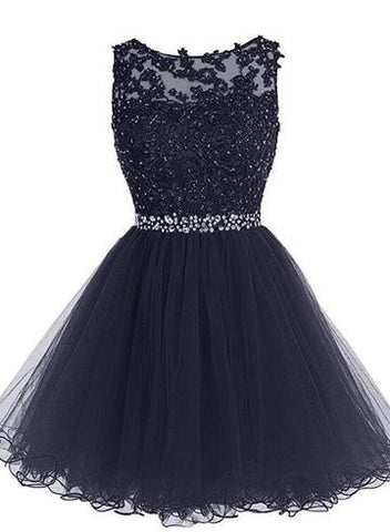 The left money for Navy Blue Tulle Short Formal Dress for Iina