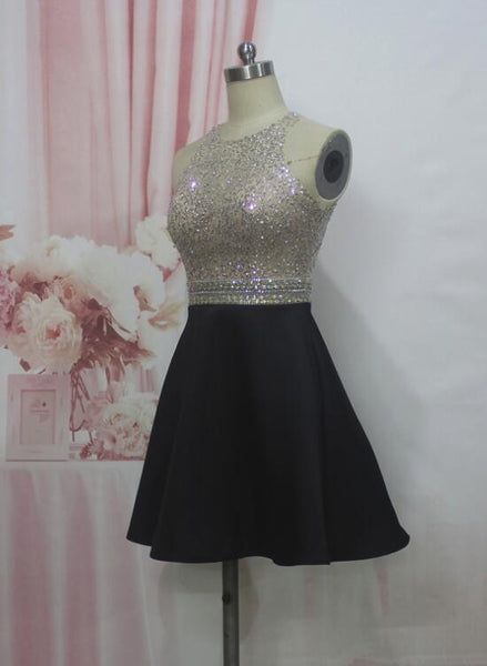 Black Beaded Sequins Spark Prom Dress, Black Homecoming Dresses, High Quality Homecoming Dress 2018