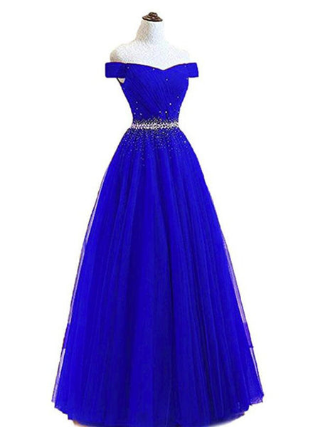 Tulle Off Shoulder Long Party Gowns, New Style Beaded Lace-up Back Junior Prom Dress 2019