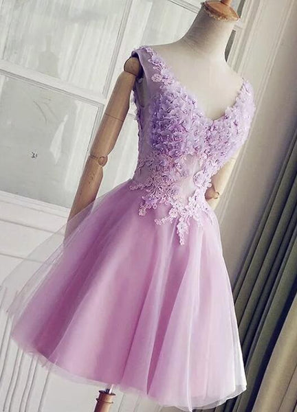 Lavender Short Lovely Floral and Applique Homecoming Dress, Charming Prom Dress