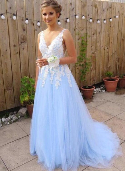 Light Blue Tulle with White Lace Applique Floor Length Party Dress, Elegant Senior Prom Dress 2019