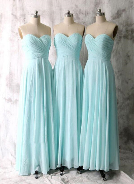 Simple Mint Blue Bridesmaid Dresses, Sweetheart Chiffon Bridesmaid Dresses, Prom Dresses