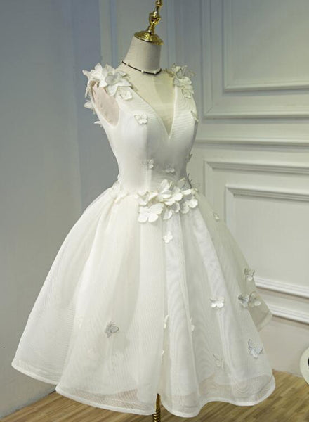 white cute tulle party dress