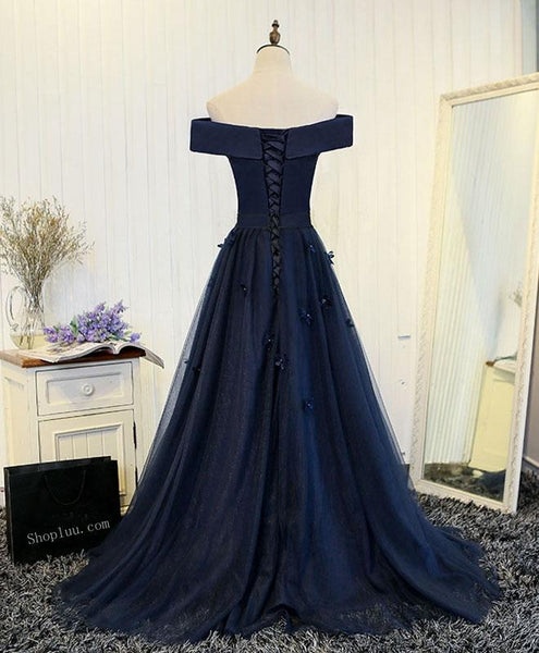 Navy Blue Off Shoulder Floor Length Party Dress, Prom Dress 2018, Formal Gowns, Lace-up Dresses