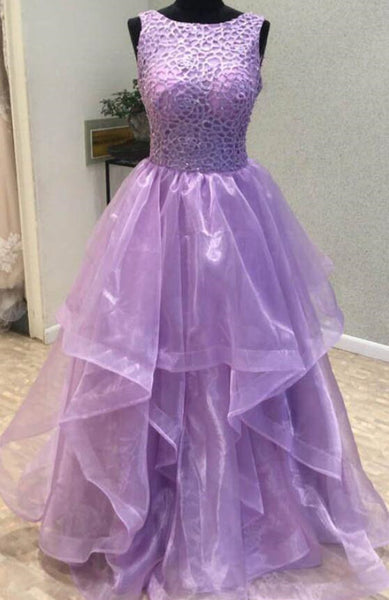 Lavender Open Back Organza Long Prom Dresses, Party Gowns, Fashionable Prom Gown