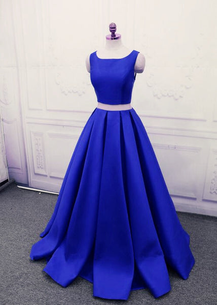 Royal Blue Satin Two Piece Stylish Formal Dresses, Cute Party Dresses, Floor Length Party Dress 2018