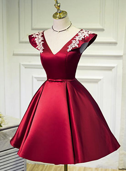 Wine Red Cap Sleeves Short Party Dresses, Satin Formal Dresses, Cute Party Dresses