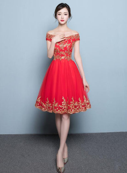 red off shoulder tulle homecoming dress