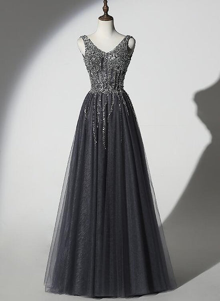 grey beaded long formal dress