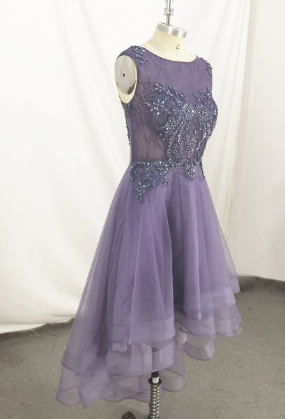 Grey-Purple High Low Party Dress, Cute Handmade Prom Dress