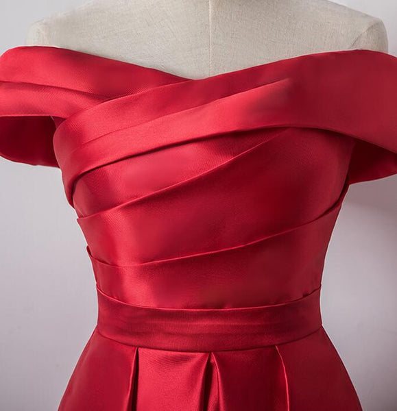 Cute Red Satin Off Shoulder Homecoming Dress, Red Homecoming Dress 2019
