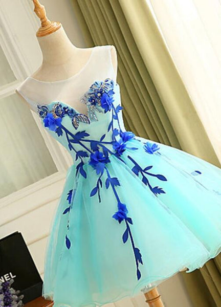Charming Mint Blue Round Neck Applique Short Tulle Homecoming, Cocktail Dresses