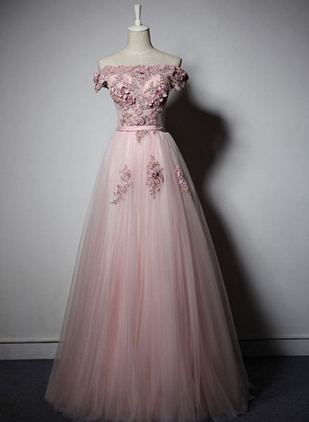 pink off shoulder long prom dress