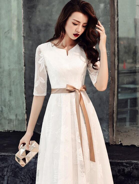 Elegant White Lace Long Short Sleeves Wedding Party Dress with Bow, Evening Dress