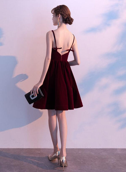Lovely Velvet Burgundy Short Straps Homecoming Dress, Lovely Short Wedding Party Dress