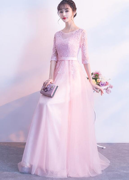 Beautiful Pink Tulle with Lace 1/2 Sleeves Party Dress, Pink Long Bridesmaid Dress