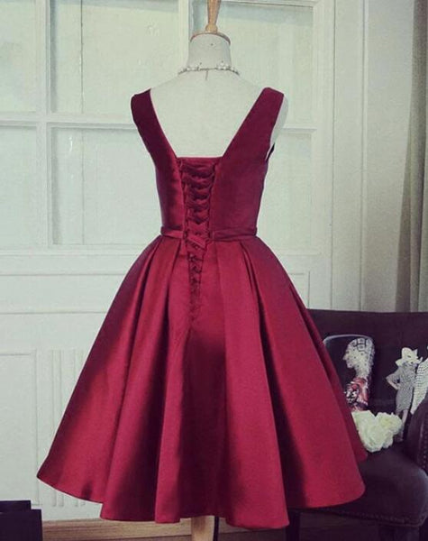 Lovely Wine Red Satin Knee Length Party Dress, Burgundy Homecoming Dress