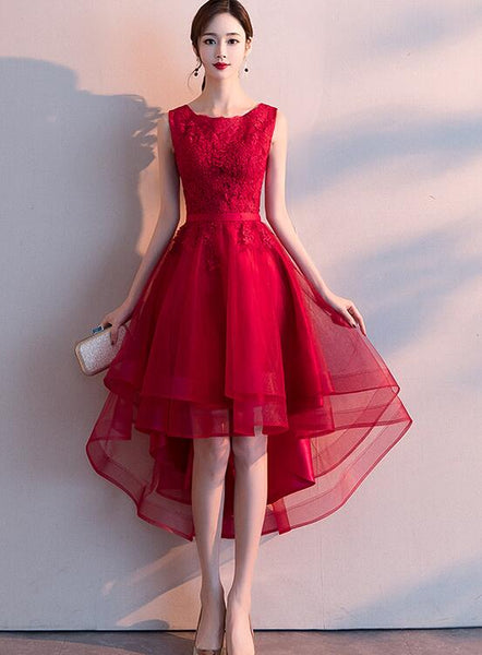 Stylish Wine Red Lace High Low Prom Dress 2020, Party Dress