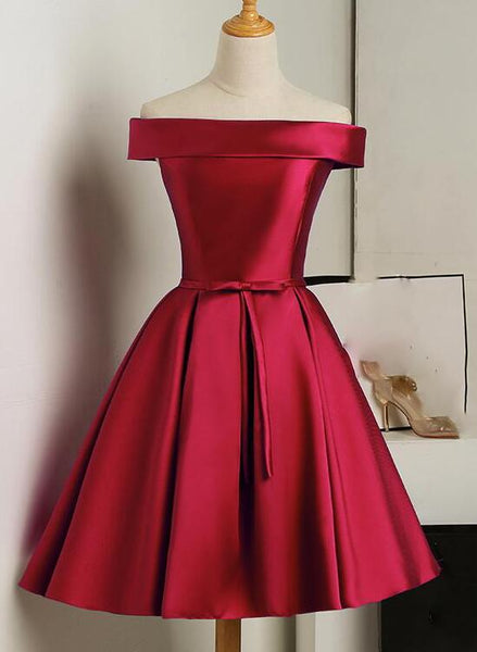 wine red satin party dress
