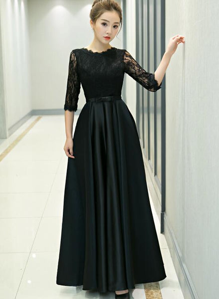 black lace and satin long party dress