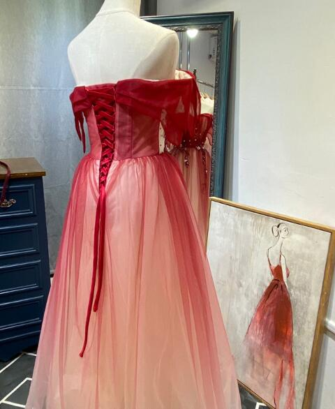 Beautiful Long Red Off Shoulder Tulle Gradient Party Dress, New Prom Dress 2020