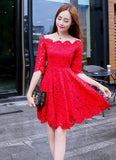 Lovely Red Lace Short Sleeves Party Dress, Chic Red Off Shoulder Homecoming Dress