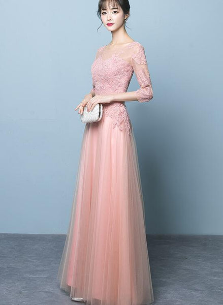 Elegant Pink Tulle Prom Dress with Sleeves, Pink Bridesmaid Dress