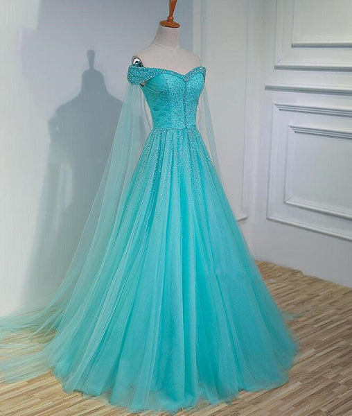 Charming Blue Beaded Sweetheart Tulle Long Party Gown, Quinceanera Dress