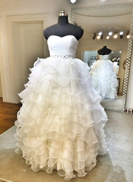 Glam Organza Sweetheart Layers Floor Length Formal Gown, Wedding Dress