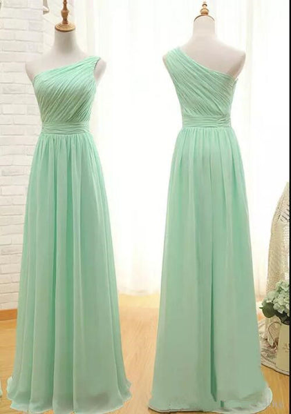 Mint Green Bridesmaid Dresses, One Shoulder Bridesmaid Dresses, Formal Gowns