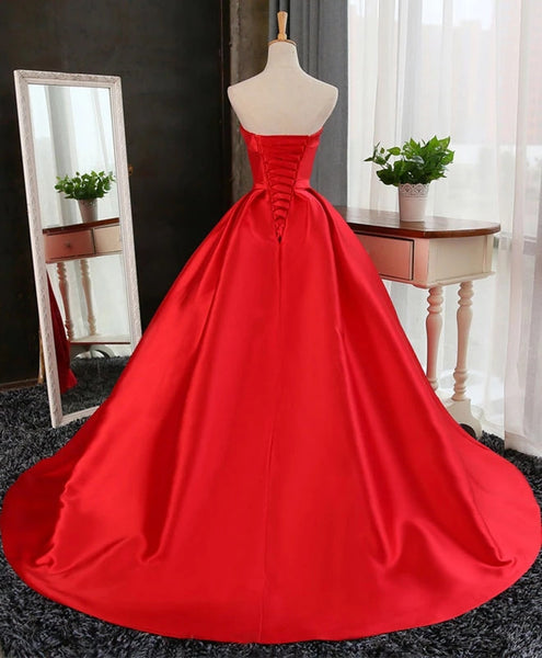 Charming Red Satin Long Sweet 16 Gown, Red Prom Dress