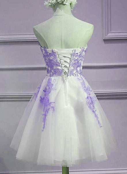Lovely Sweetheart White Tulle with Purple Lace, Cute Party Dress