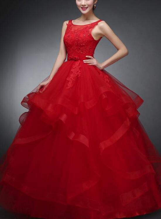 Beautiful Red Tulle Round Neckline Party Gowns, Red Formal Dress ...
