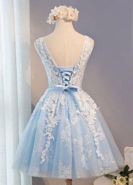 Light Blue Short Homecoming Dresses, Lovely Formal Dress 2018, Party Gowns