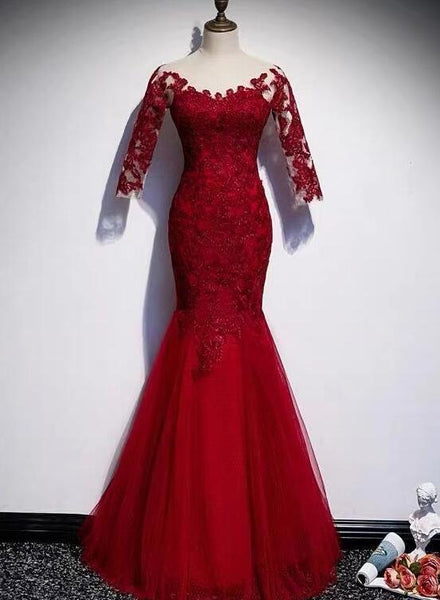 wine red mermaid long party dress
