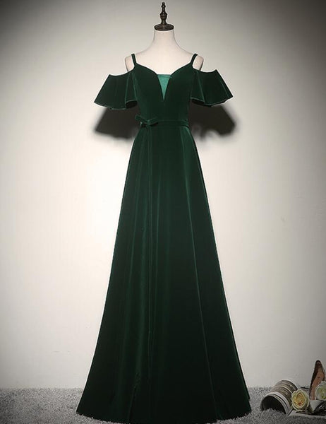 Charming Dark Green Velvet Long Straps Party Gown, Bridesmaid Dress