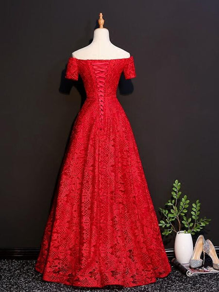 Beautiful Red Lace Off Shoulder Floor Length Party Dress, Red Formal Dress 2020
