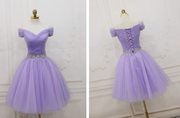 Lovely Light Purple Beaded Short Party Dress, Off Shoulder Homecoming Dress