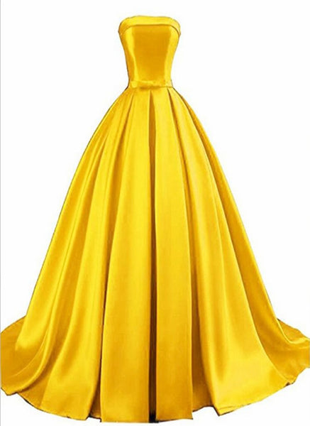 Gold Satin Prom Dress 2020