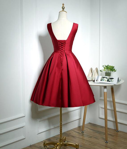 Lovely Wine Red Satin Homecoming Dress, Short Bridesmaid Dress