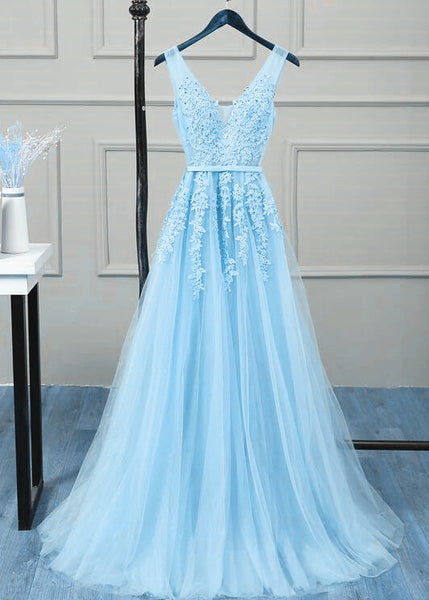 Charming Light Blue V-neckline Tulle Bridesmaid Dress, A-line Prom Dress