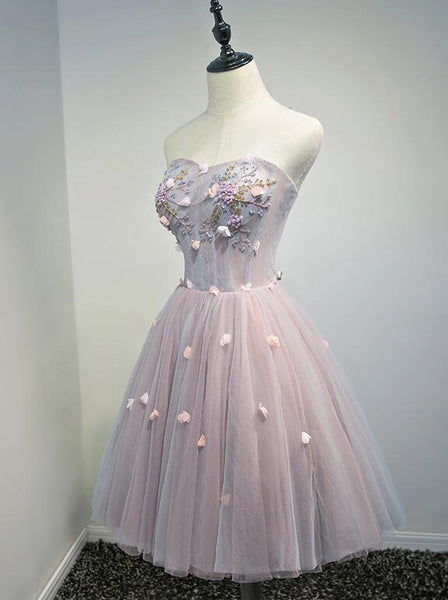 Charming Pink Tulle Short Knee Length Party Dress, Homecoming Dress