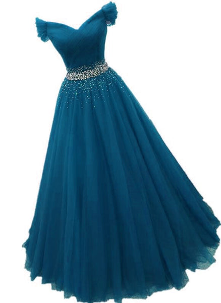 Charming Tulle Off Shoulder Sequins Long Party Dress, A-line Ball Gown Prom Dress