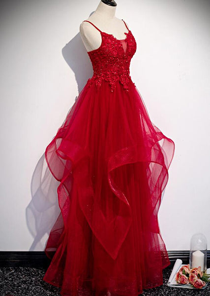 Red Lace Tulle Layered Straps Fashionable Long Party Dress, Long Prom Gown