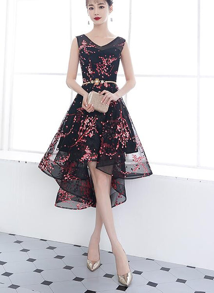 Adorable Black Floral High Low Homecoming Dress, V-neckline Short Prom Dress