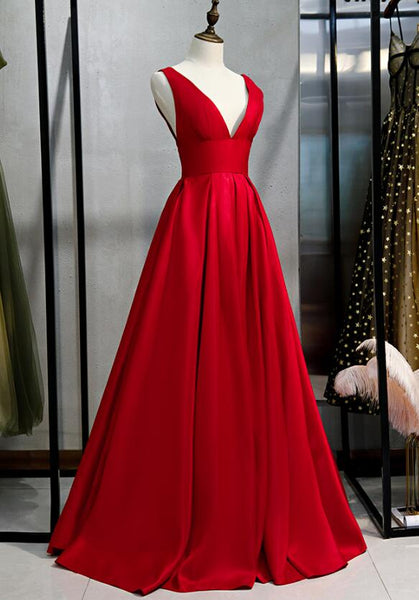 Beautiful Red Satin V-neckline Party Dress, Red Prom Dress 2020