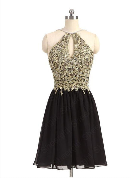 Lovely Short Black Chiffon and Gold Lace Halter Homecoming Dresses, Short Prom Dresses, Party Dresses