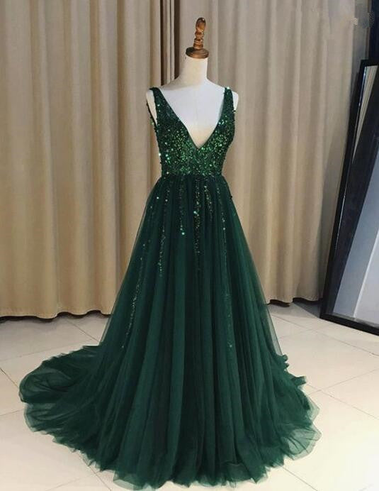 Tulle Dark Green Sparkly Sequins Beaded V-neck Prom Dresess, Green ...
