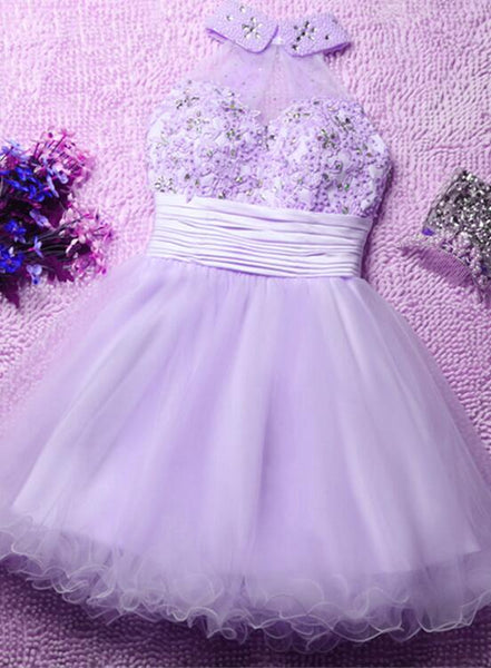 Lavender Cute Short Tulle Formal Dresses, Lovely Homecoming Dresses, Short Prom Dresses