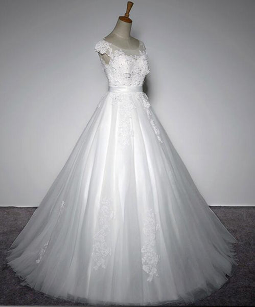 Simple Wedding Gowns, Tulle Round Neckline Lace Detail Party Dress, White Formal Gowns